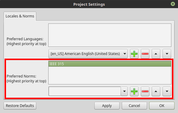 Project Settings Dialog